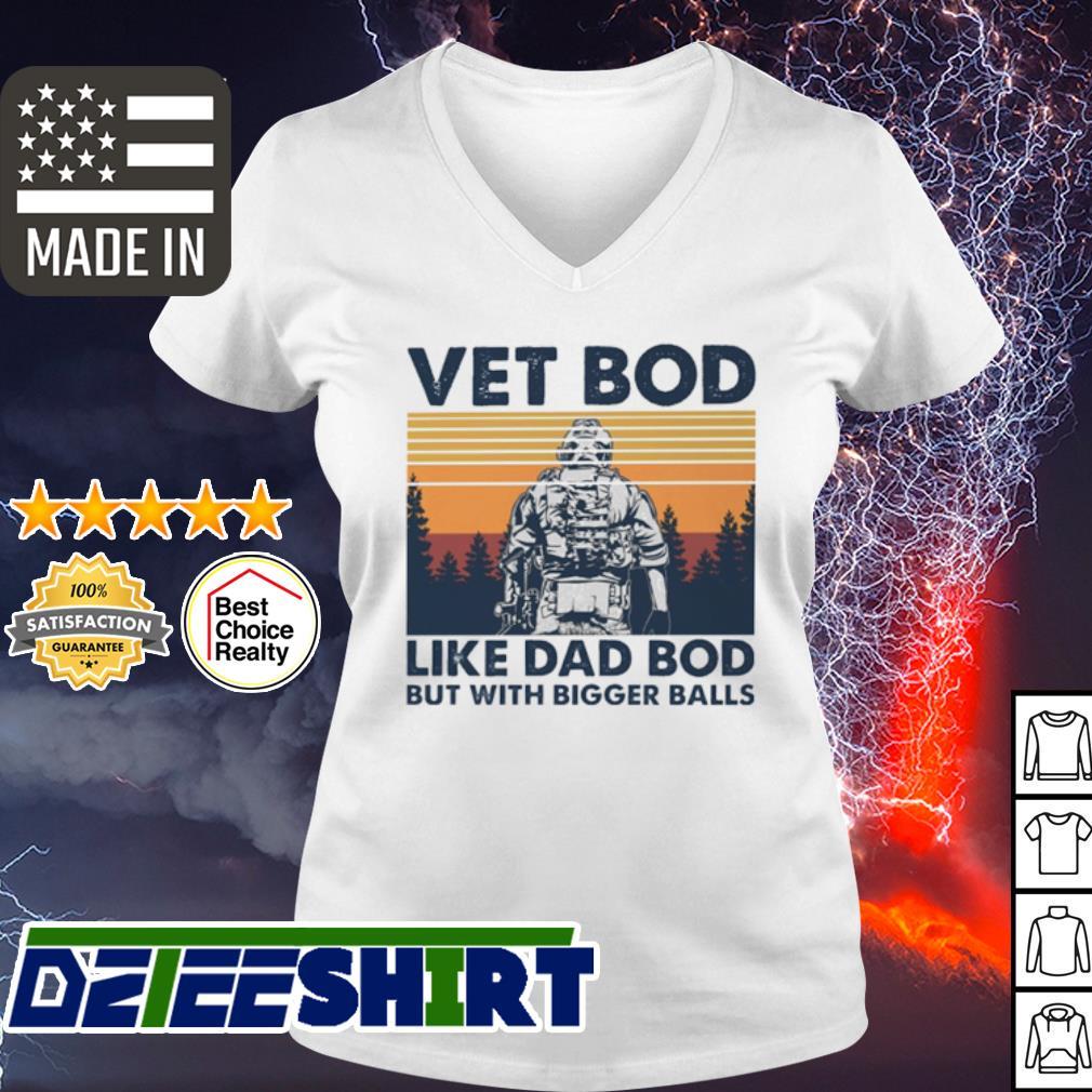 Vintage Sodier vet bod like dad bod but with bigger balls s v-neck t-shirt