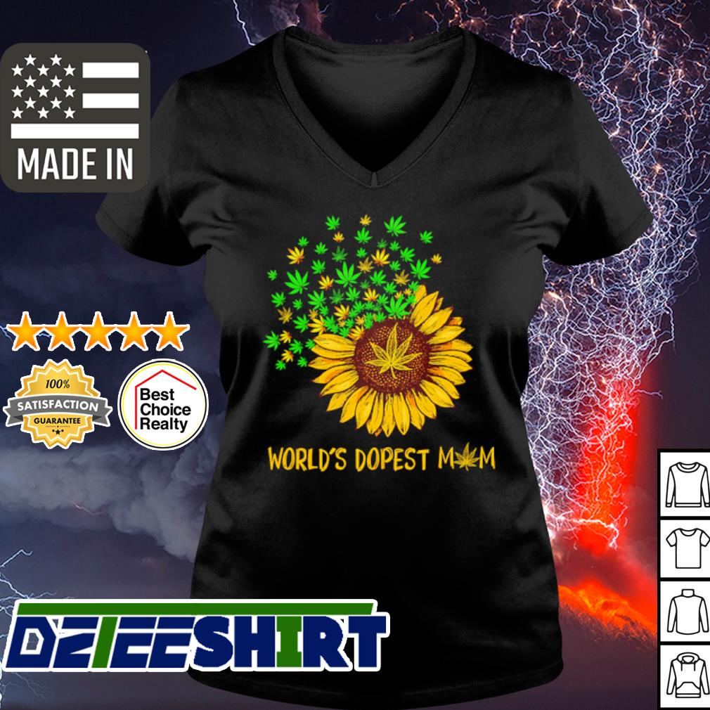 Worlds Dopest Mom Weed Sunflower Shirt v-neck t-shirt