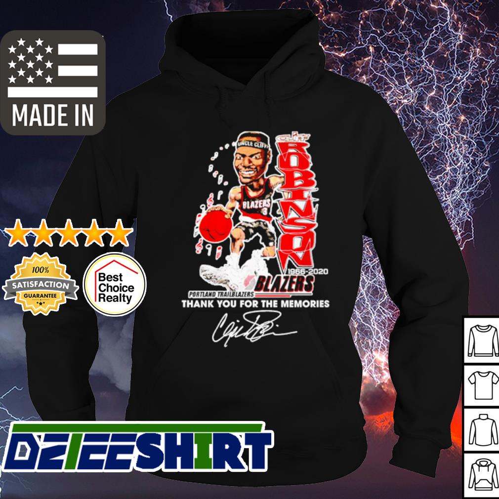 53 Clifford Robinson 1966 2020 blazers thank you for the memories signature s hoodie