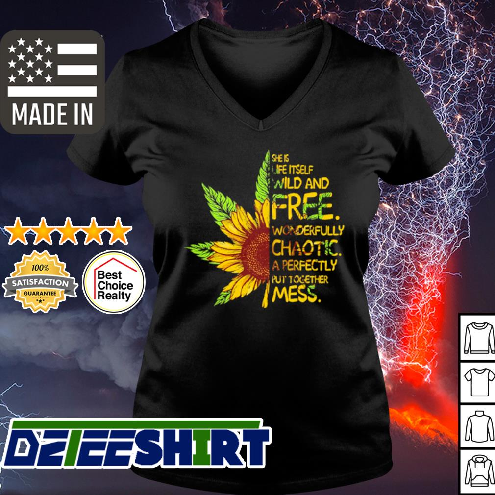 Cannabis sunflower she is life itself wild and free s v-neck t-shirt