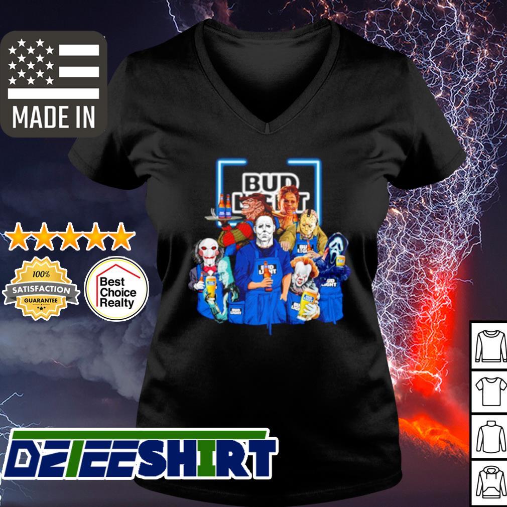 Horror character movie drink Bud Light s v-neck t-shirt