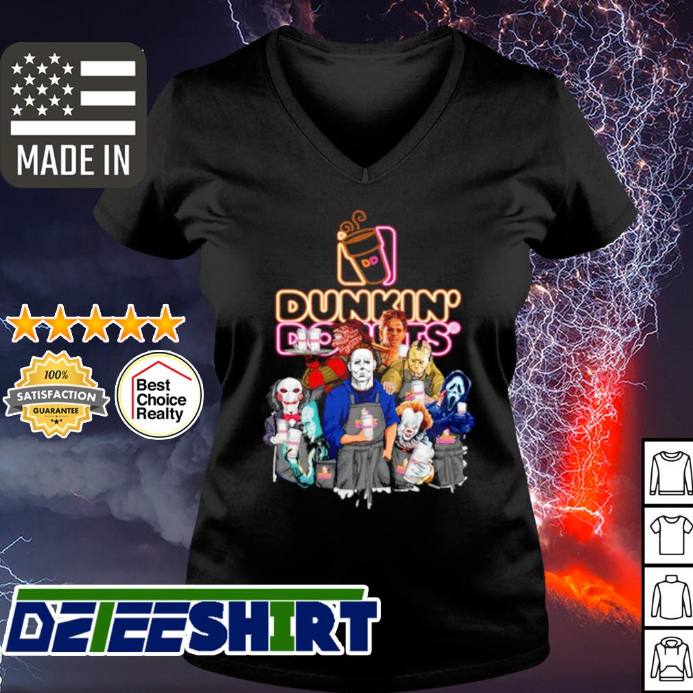 Horror character movie drink Dunkin' Donuts s v-neck t-shirt