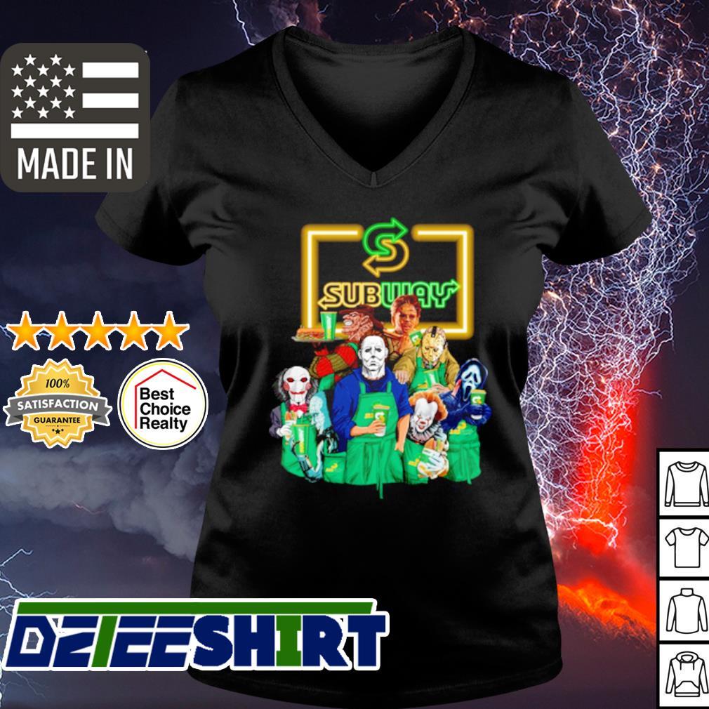 Horror character movie drink Subway s v-neck t-shirt