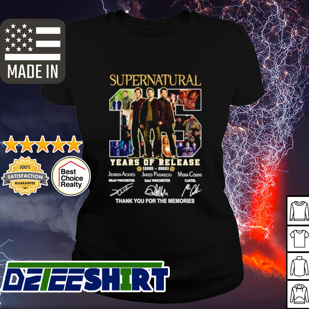 Supernatural 15 years of release 2005 2020 thank you for the memories s ladies tee
