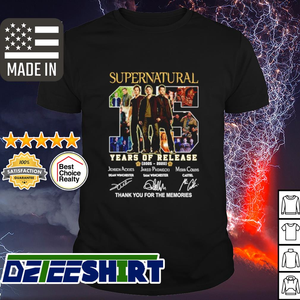 Supernatural 15 years of release 2005 2020 thank you for the memories shirt