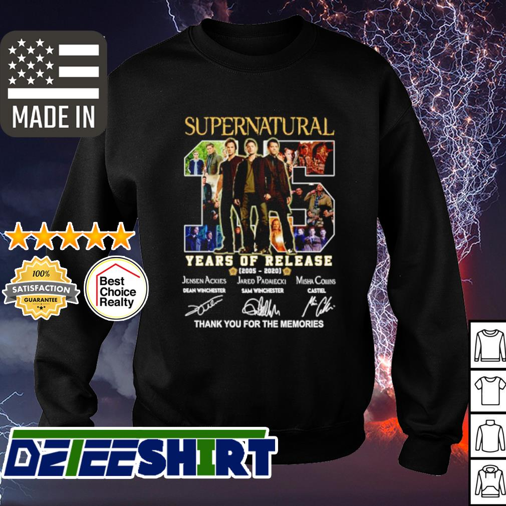 Supernatural 15 years of release 2005 2020 thank you for the memories s sweater