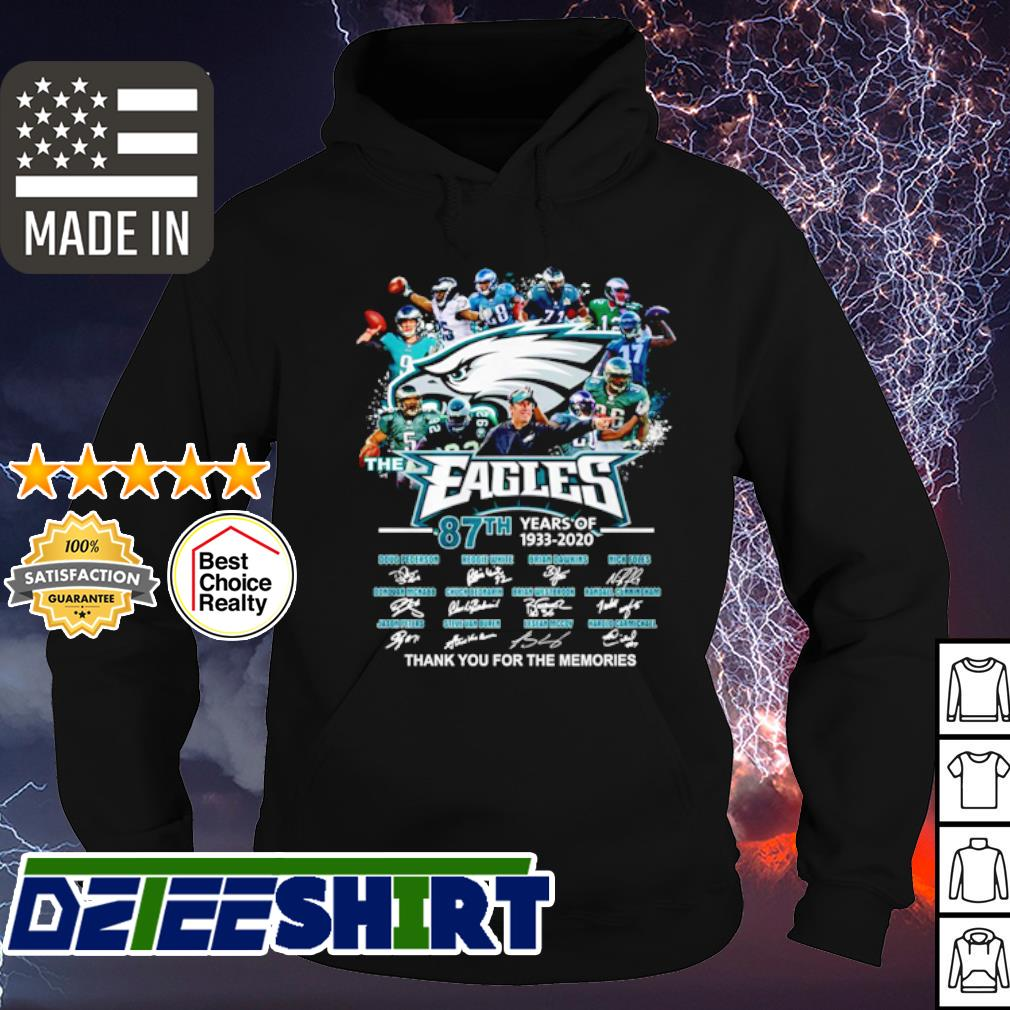 The Philadelphia Eagles 87th anniversary 1933 2020 thank you for the memories s hoodie