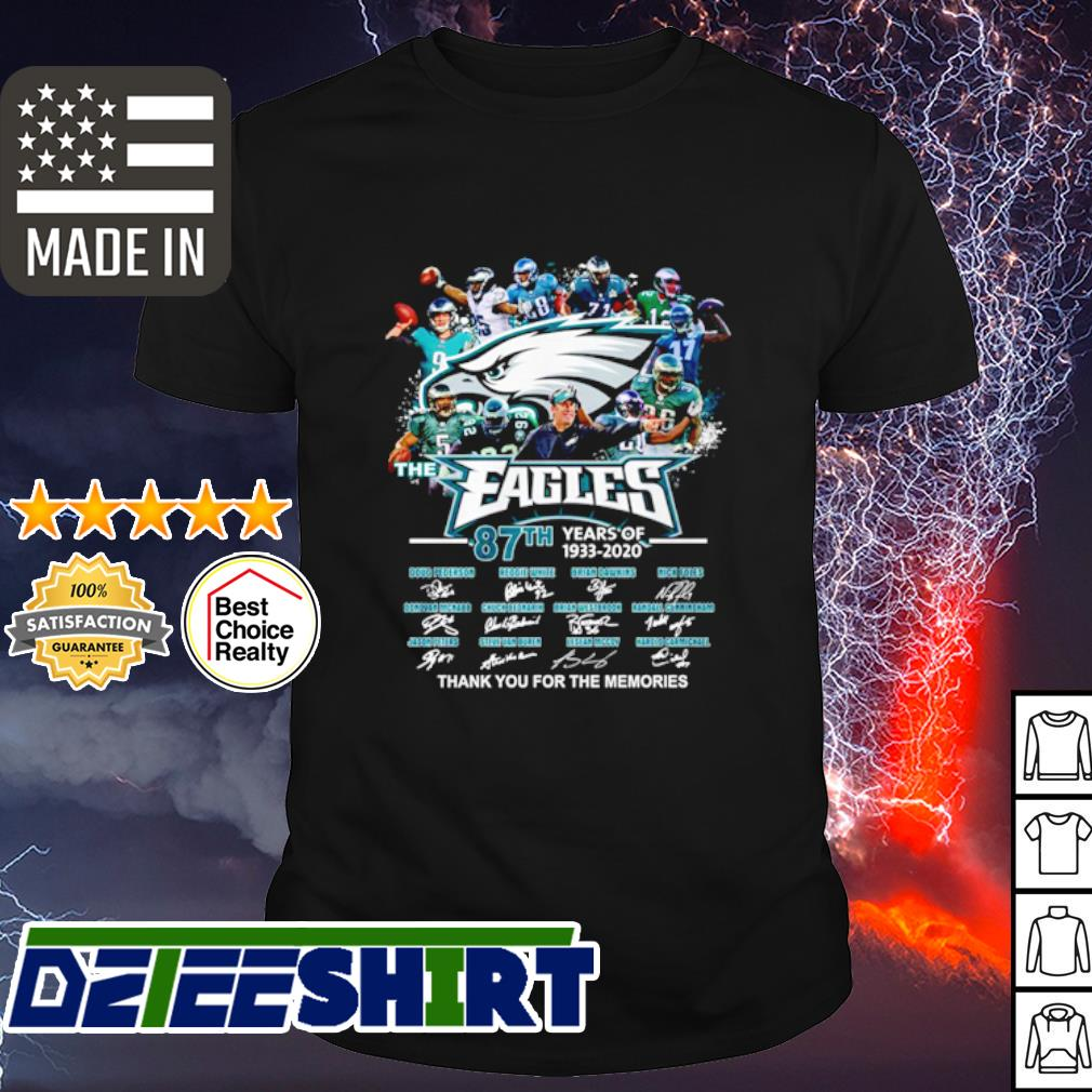 The Philadelphia Eagles 87th anniversary 1933 2020 thank you for the memories shirt