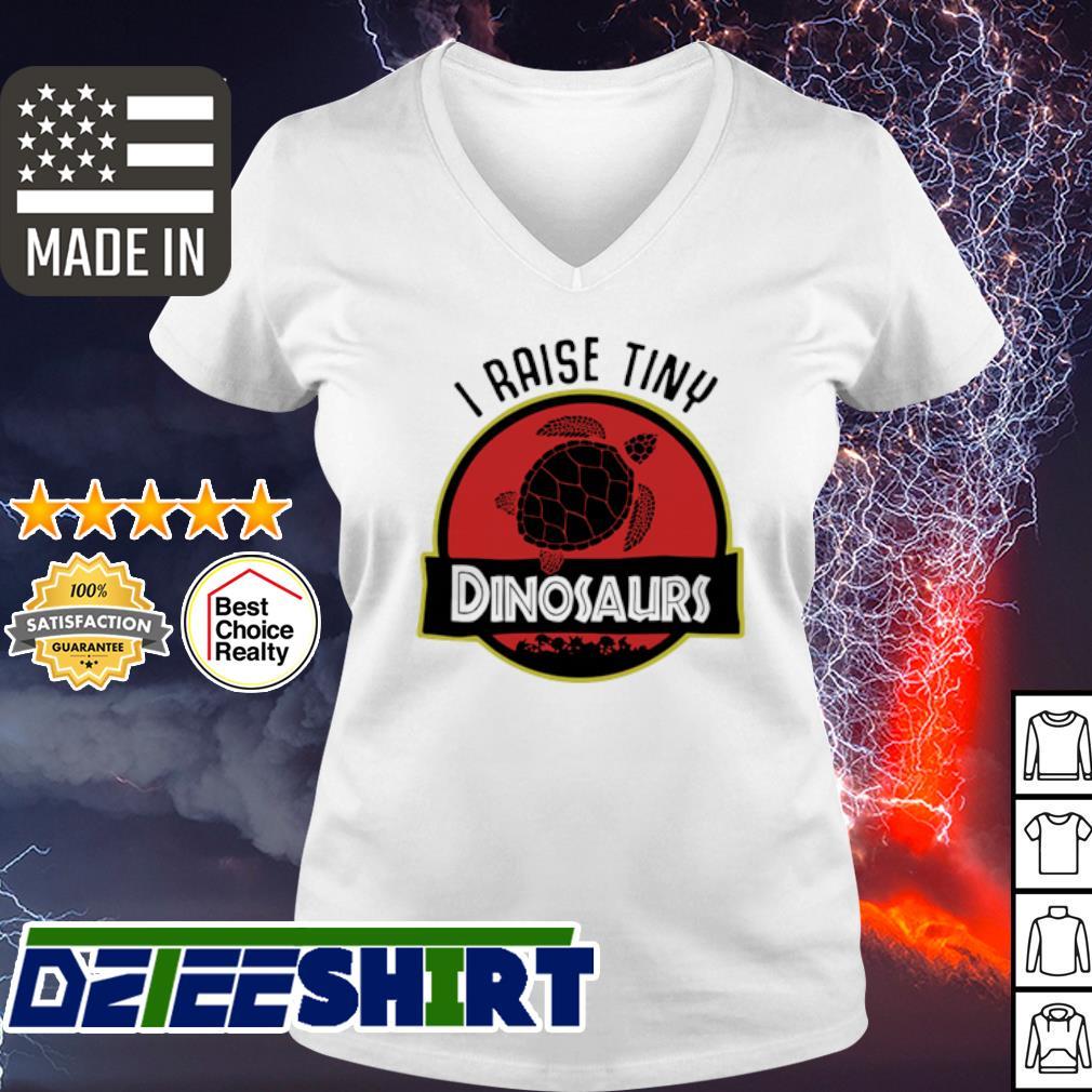 Turtle I Raise Tiny Dinosaurs s v-neck t-shirt