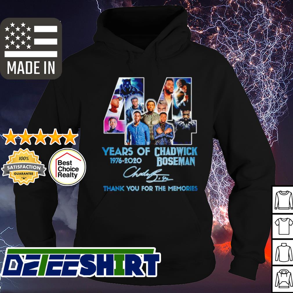 44 years of Chadwick Boseman 1976-2020 thank you for the memories signature s hoodie