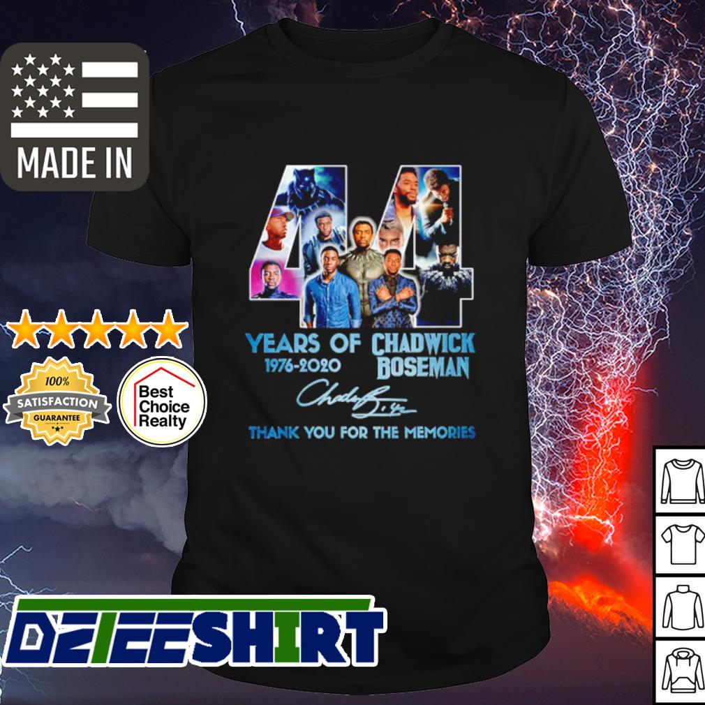 44 years of Chadwick Boseman 1976-2020 thank you for the memories signature shirt