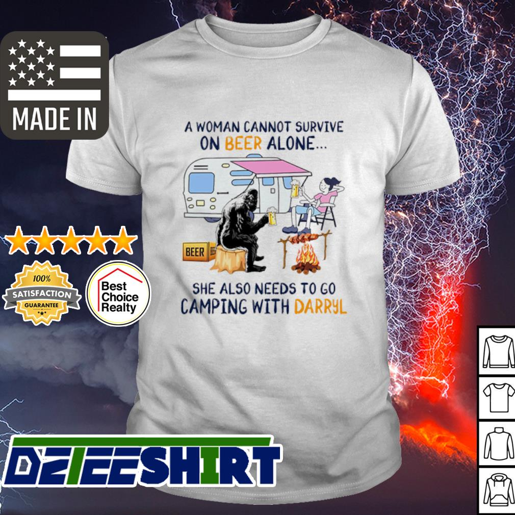 A woman cannot survive on Beer alone she also needs to camping with Darryl shirt