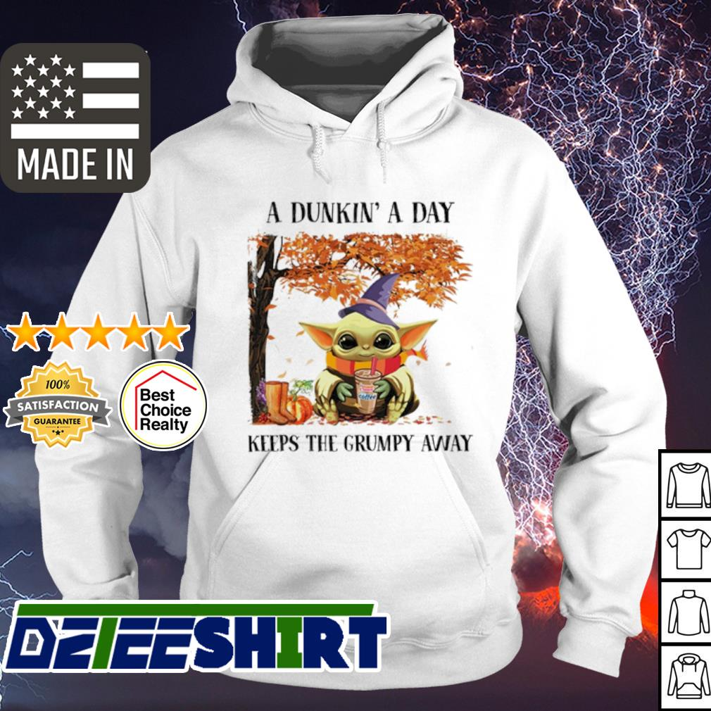 Baby Yoda A Dukin' a day keeps the grumpy away Halloween Dunkin' Donuts s hoodie