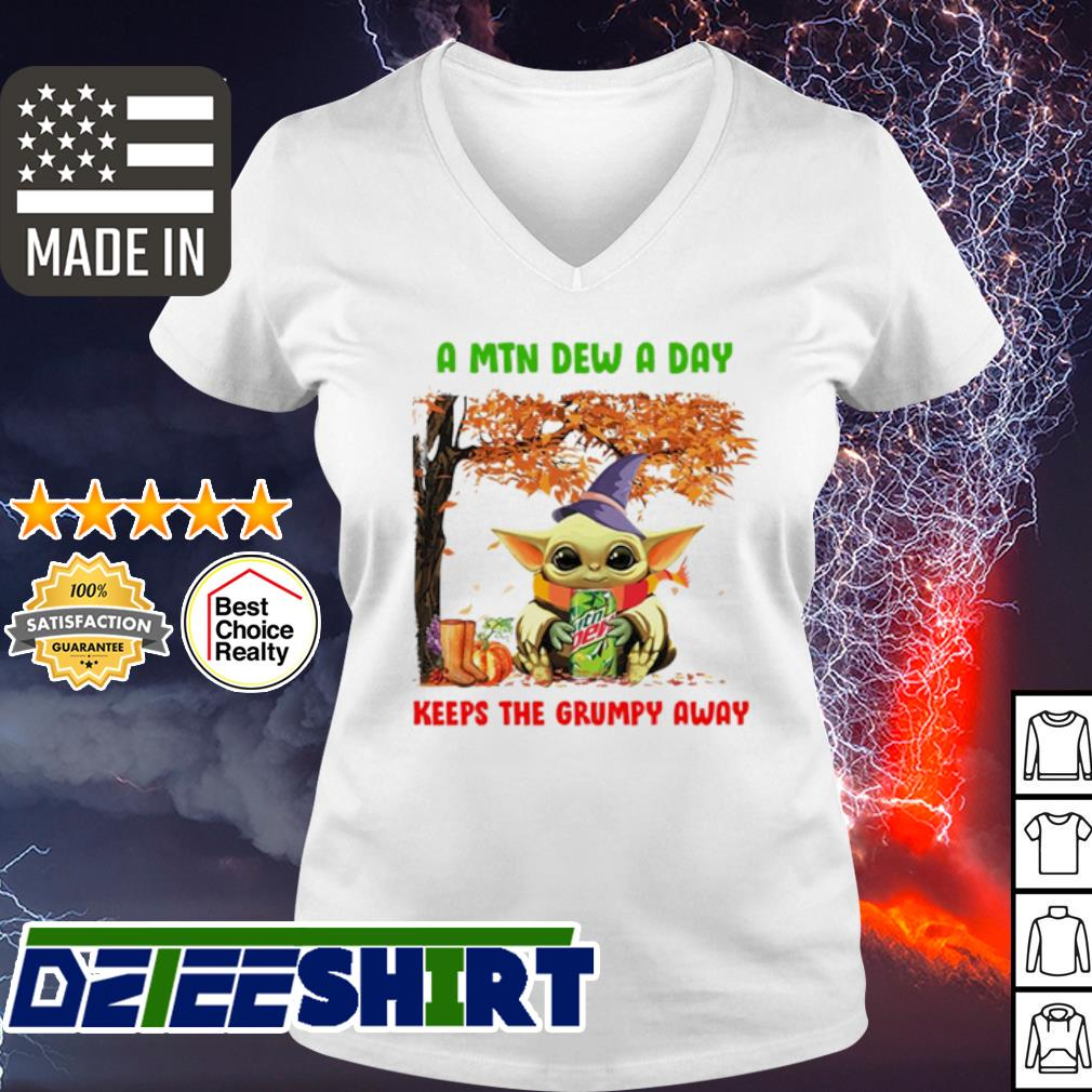 Baby Yoda a Mtn dew a day keeps the grumpy away Mountain Dew s v-neck t-shirt