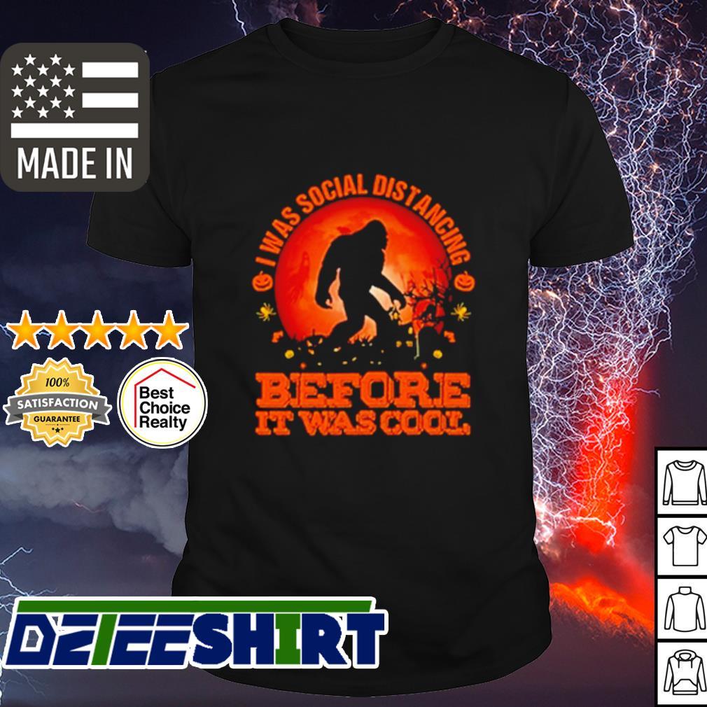 Bigfoot I was social distancing before it was cool pumpkin moon Halloween shirt
