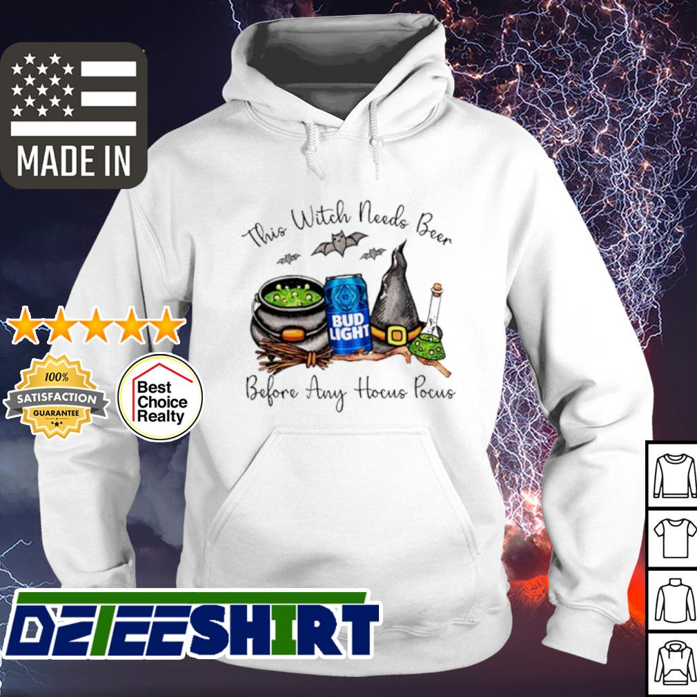 Bud Light this witch needs Beer before any Hocus Pocus halloween shirt (1) hoodie
