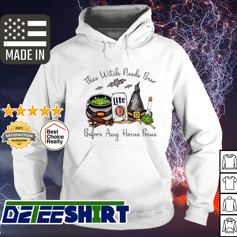 Bud Light this witch needs Beer before any Hocus Pocus halloween shirt (2) hoodie