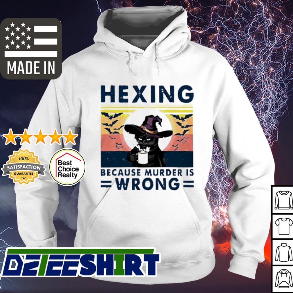 Cat hexing because murder is wrong Halloween vintage s hoodie