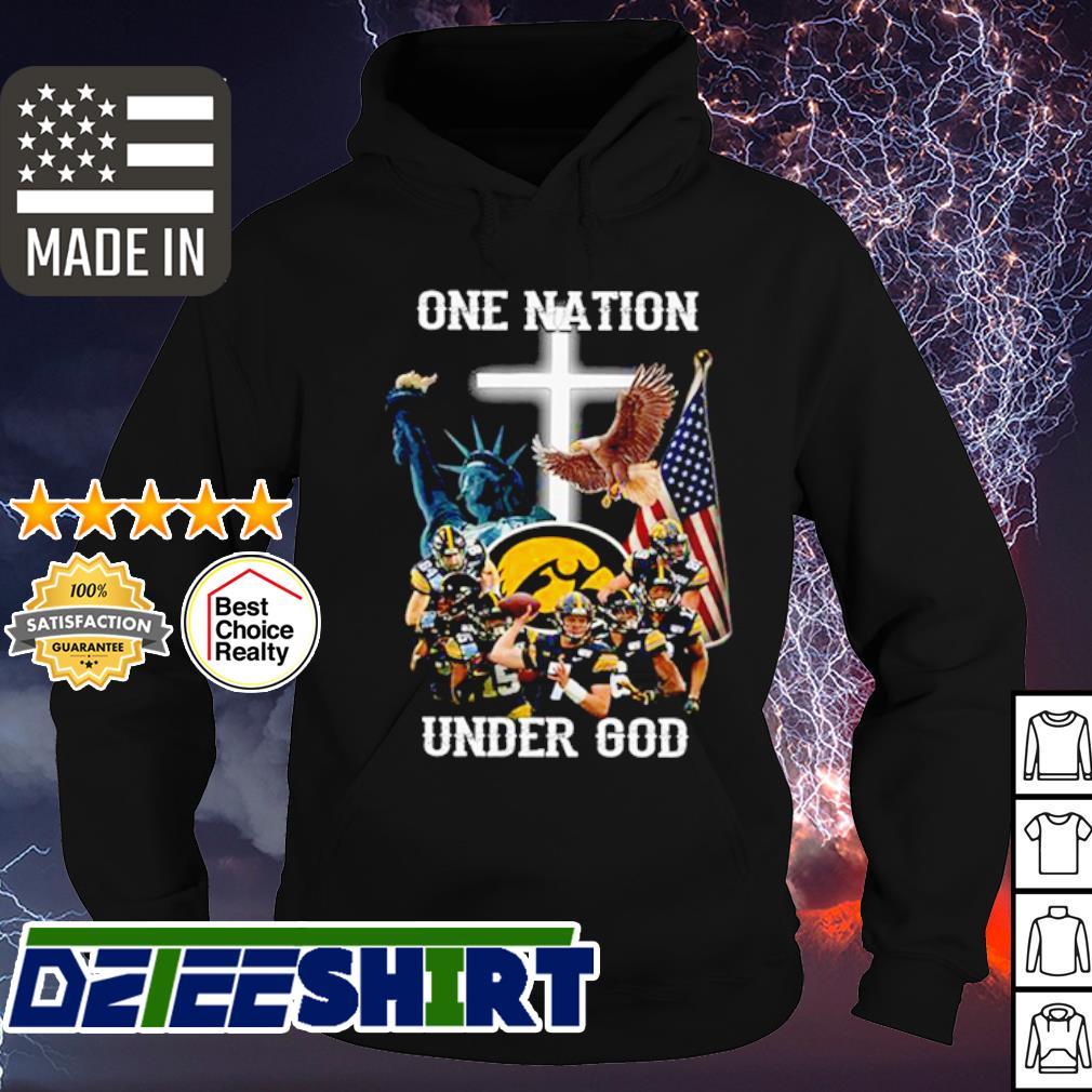 Lowa Hawkeyes football One nation under god American Flag s hoodie
