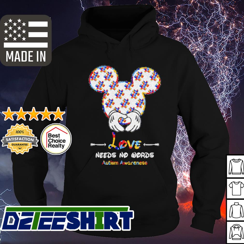 Meckey Mouse love needs no words autism awareness s hoodie
