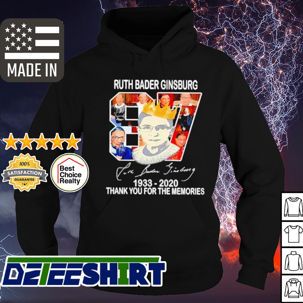 Ruth Bader Ginsburg 87 year 1933 2020 thank You for the memories signature s hoodie