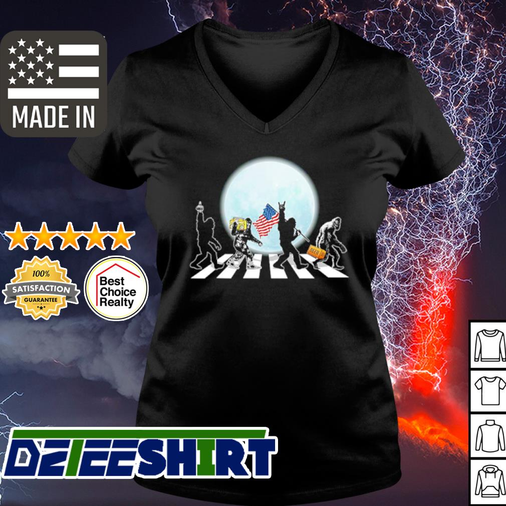 The Bigfoot Abbey Road Flag American Shirt v-neck t-shirt