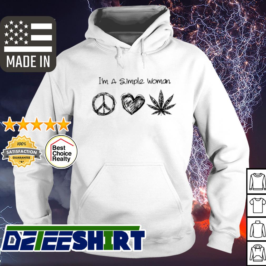 I'm a simple woman hippie heart and weed s hoodie