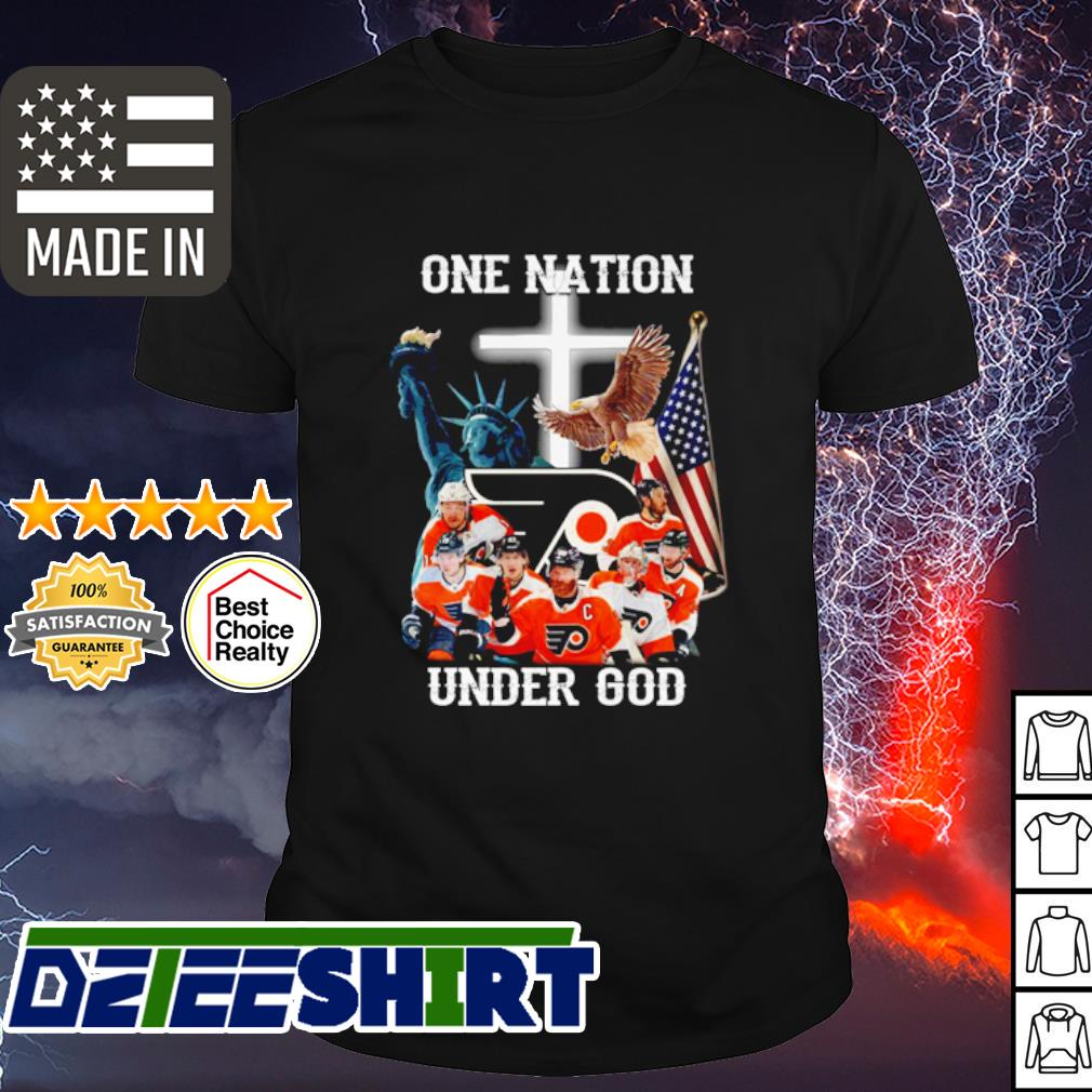 Philadelphia Flyers hockey game one nation under god shirt