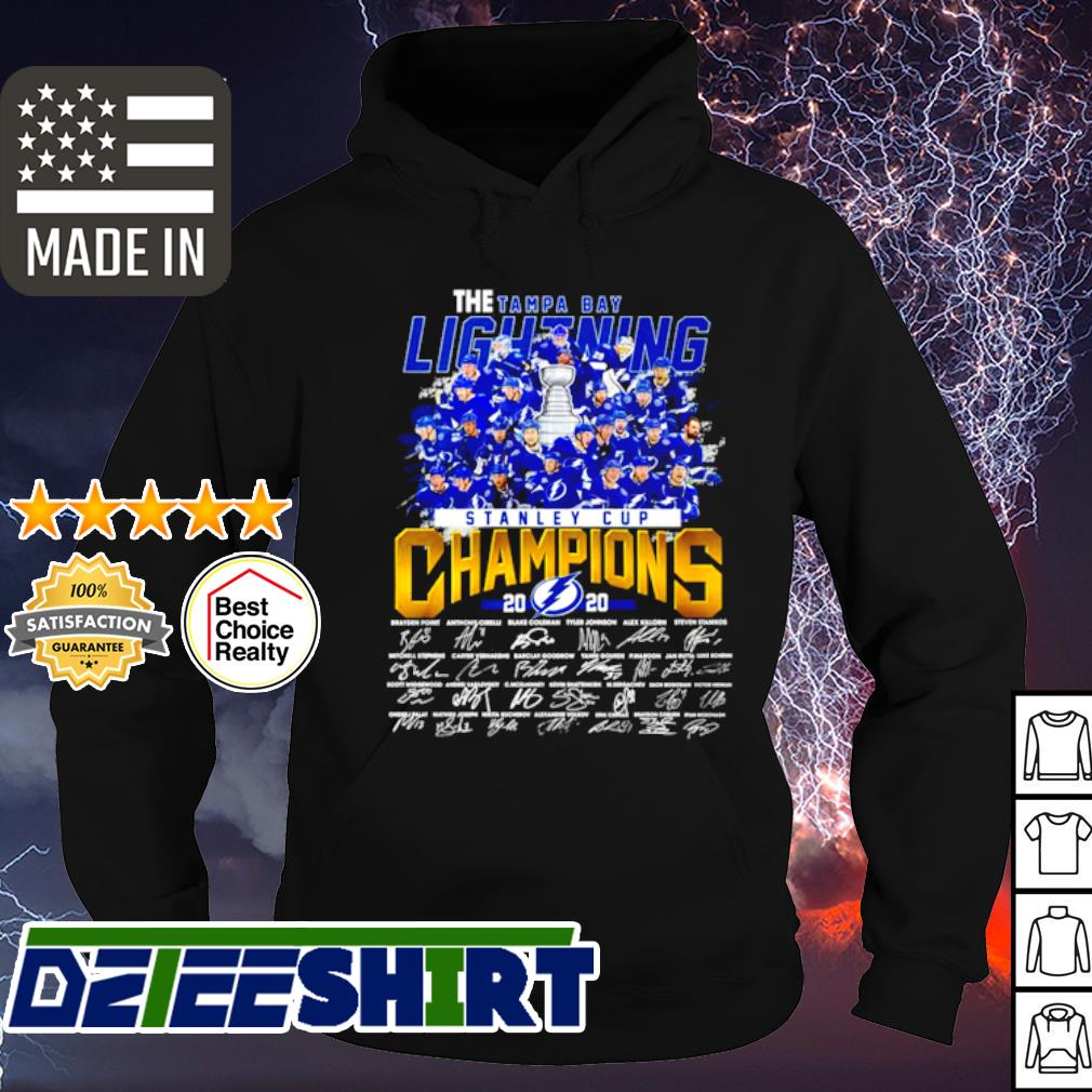 The Tampa Bay Lightning Stanley cup Champions 2020 signature s hoodie