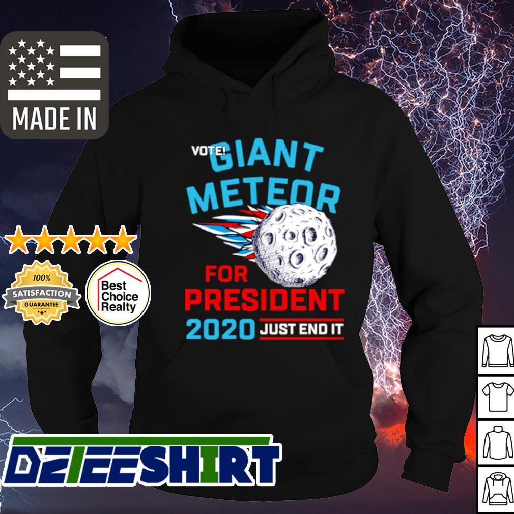 Vote giant meteor for president 2020 just end it s hoodie